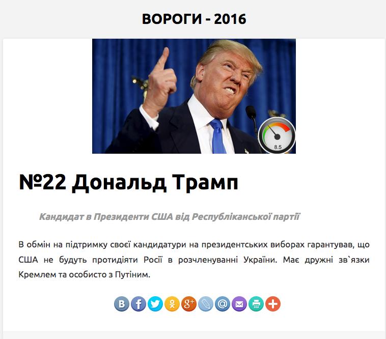 """Прикол дня. На Украине Трампа записали в """"вороги"""""""